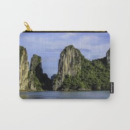 Beautiful Limestone Cliffs Covered in Green Trees and Bushes Rising up from Halong Bay, Vietnam Carry-All Pouch