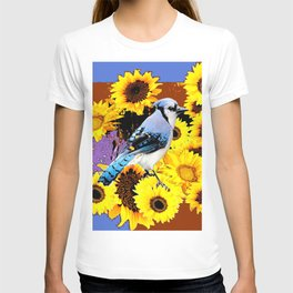 MODERN BLUE  JAY & COFFEE BROWN SUNFLOWERS T-shirt