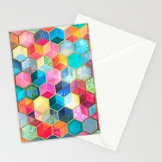 Crystal Bohemian Honeycomb Cubes - colorful hexagon pattern  Stationery Cards