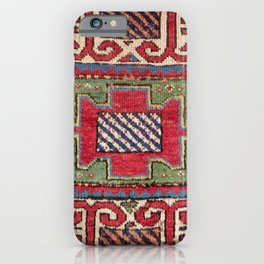Striped Diagonal Line Motif // 19th Century Authentic Colorful Dark Emerald Green Accent Pattern iPhone Case