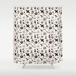 Science Symbols // Antique White Shower Curtain