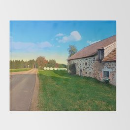 Traditional farmhouse scenery | landscape photography Throw Blanket