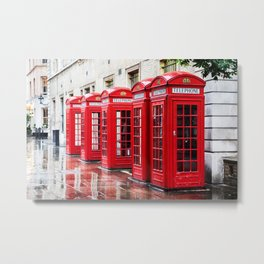 Covent Garden phone boxes Metal Print
