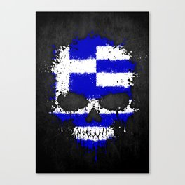 Flag of Greece on a Chaotic Splatter Skull Canvas Print