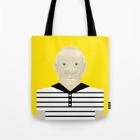 pablo picasso Tote Bags featuring Pablo Picasso by Matteo Lotti