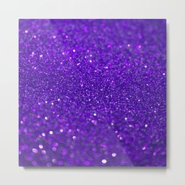 Bright Purple Glitter Metal Print
