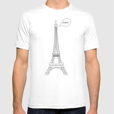 Bonjour Paris! SMALL White Mens Fitted Tee