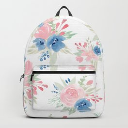 Blush Pink and Navy Watercolor Florals Backpack