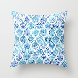 PAISLEY MERMAID Watercolor Scale Pattern Throw Pillow