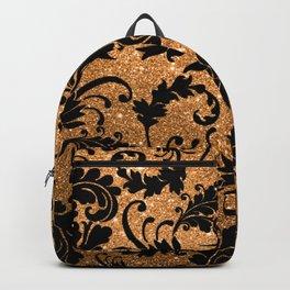 Vintage black faux gold glitter floral damask pattern Backpack