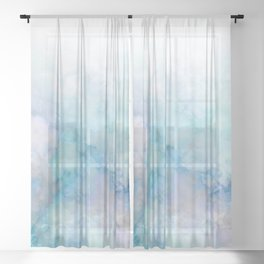 Fresh Blue and Aqua Ombre Frozen Marble Sheer Curtain