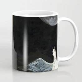 Horse flying to the moon Silver stream illustration Coffee Mug
