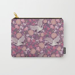 Cranes with chrysanthemums and pink magnolia on purple background Carry-All Pouch
