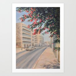 Eilat street Tel aviv_ Oil on canvas Art Print