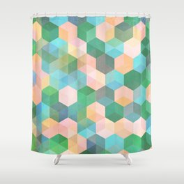 Child's Play - hexagon pattern in mint green, pink, peach & aqua Shower Curtain