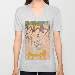 Shiva Seated on a Throne in a Landscape - 18th Century Classical Indian Art Unisex V-Neck