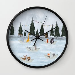 the great paper boat race Wall Clock