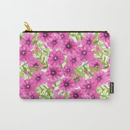 Pink watercolor petunia flower pattern Carry-All Pouch
