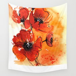 Red Poppy Flowers Watercolor Painting Wall Tapestry