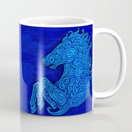 Blue Celtic Horse Abstract Spirals Coffee Mug