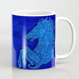 Blue Celtic Horse Abstract Spirals Coffee Mug