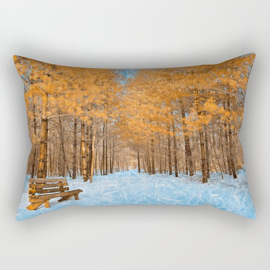 Burning Ice Forest Trail Rectangular Pillow