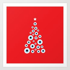 Evil Eye Christmas tree Art Print