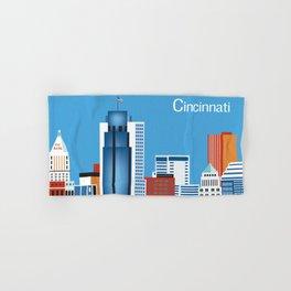Cincinnati, Ohio - Skyline Illustration by Loose Petals Hand & Bath Towel