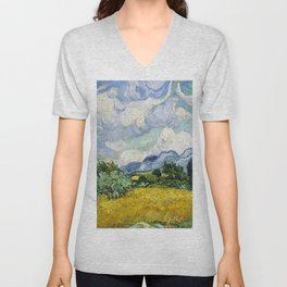 Vincent Van Gogh Wheat Field with Cypresses (1889) Unisex V-Neck