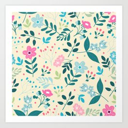 Colorful Floral Pattern - Beige Art Print