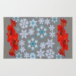 GOLD  GARLAND & SNOWFLAKES   RED AMARYLLIS FLOWERS CHRISTMAS ART Rug