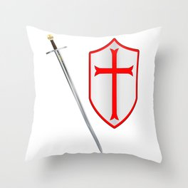 Crusaders Sword and Shield Throw Pillow