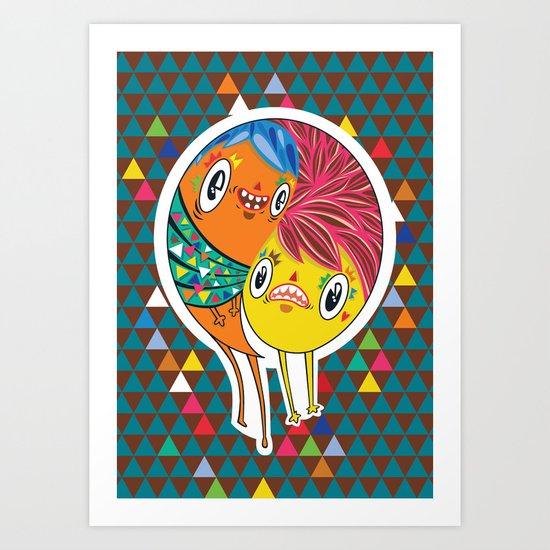 Polypop 2 Heads Art Print