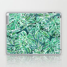 JUNGLE VIBES Green Monstera Watercolor Print Laptop & iPad Skin