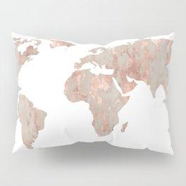 World Map Marble Rose Gold Shimmer Pillow Sham
