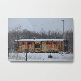 CNW Caboose in Winter Metal Print
