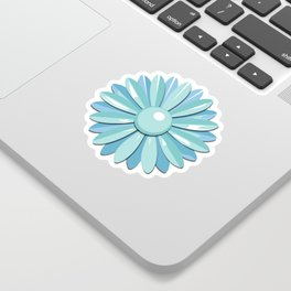 Vintage Flower Enamel Pin (24-Petal in Light Blue & Turquoise) Sticker
