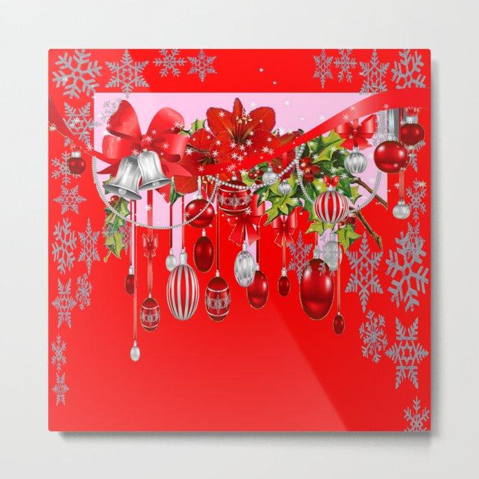 RED CHRISTMAS SNOW FLAKES & AMARYLLIS CHRISTMAS ORNAMENTS Metal Print