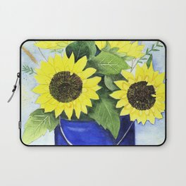 Watercolor sunflower bouquet in bucket Laptop Sleeve