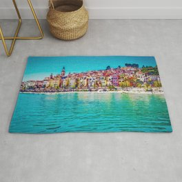 French Riviera, Cote d'Azur, France Coastline Landscape by Jeanpaul Ferro Rug