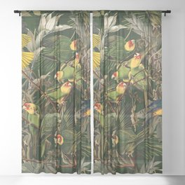 Floral and Birds XXXVI Sheer Curtain