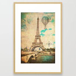 Vintage Eiffel Tower Paris Framed Art Print