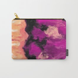 psychedelic splash painting abstract texture in pink purple black Carry-All Pouch