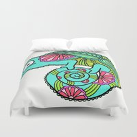 lizard Duvet Covers featuring Lizard by Two Legged Monster Boutique