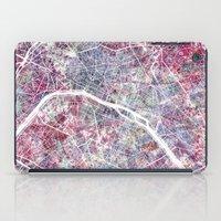 paris map iPad Cases featuring Paris Map by MapMapMaps.Watercolors