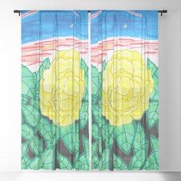 Sunset Rose Watercolor Sheer Curtain