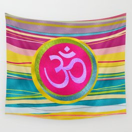 Colorfull Glitter OM symbol on  Pattern Wall Tapestry