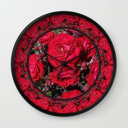 Red Christmas Roses Wall Clock