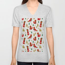 Christmas foxes and trees pattern Unisex V-Neck