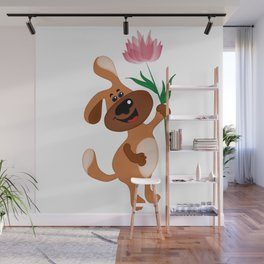 The dog holds a flower in his paw Wall Mural